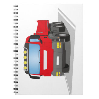 red building sites truck notebook