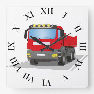 red building sites truck square wall clock