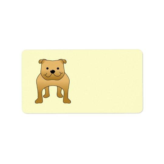 Red Bulldog. Dog Cartoon. Label