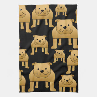 Red Bulldogs on Black. Kitchen Towel