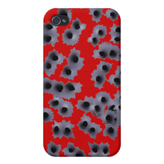 Red Bullet Holes Shot Up  Case For The iPhone 4