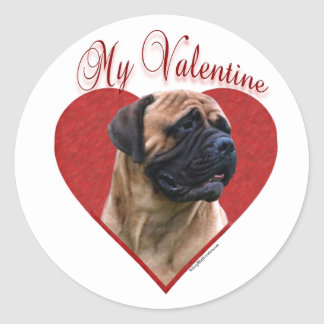 Red Bullmastiff My Valentine - Sticker