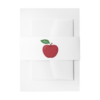 Red Burgundy Apple Country Fall Wedding Rustic Invitation Belly Band