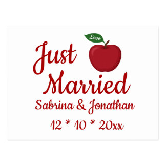 Red Burgundy Apple Just Married Fall Wedding Postcard