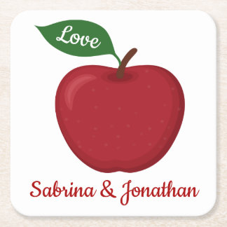 Red Burgundy Apple Love Wedding Party Square Paper Coaster