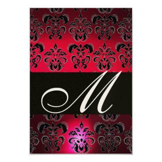RED BURGUNDY BLACK DAMASK MONOGRAM RSVP champagne Card