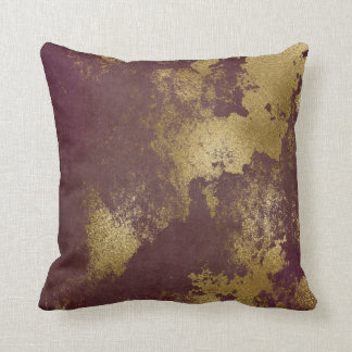 Red Burgundy Distressed Grungy Gold Wall Throw Pillow