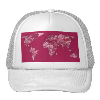 red burgundy earth map trucker hat
