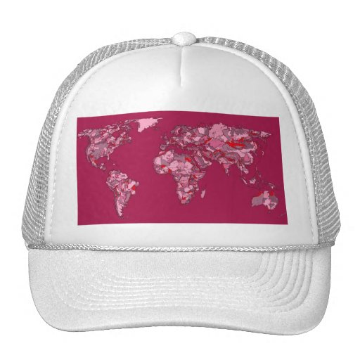 red burgundy earth map hats