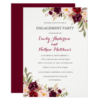 Red Burgundy Floral Fall Engagement Party Card