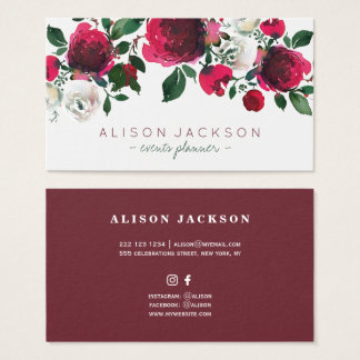 Red burgundy ivory peony bouquet events planner business card