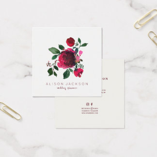 Red burgundy ivory peony bouquet wedding planner square business card