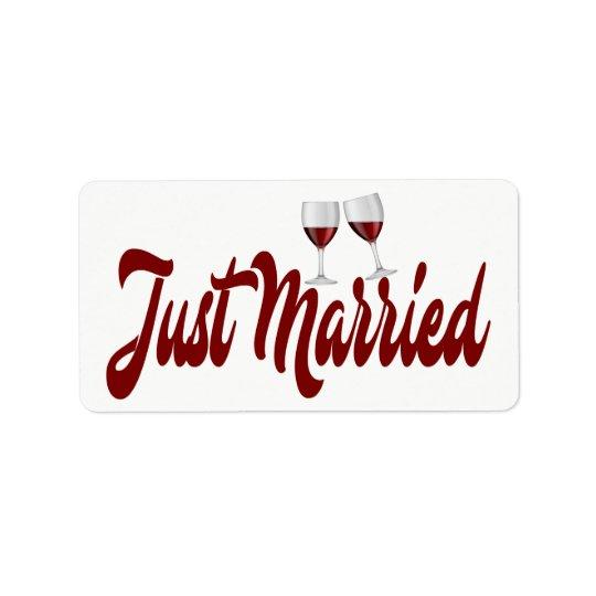 Red Burgundy Just Married Wine Glasses Wedding