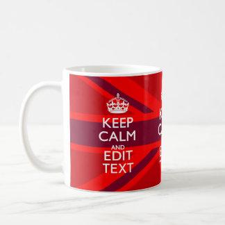 Red Burgundy Keep Calm Your Text Union Jack Flag Classic White Coffee Mug