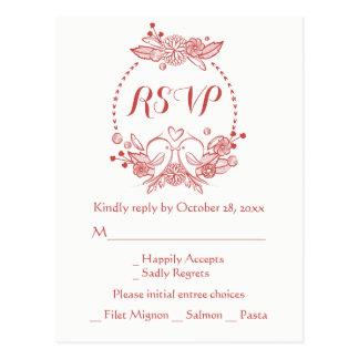Red Burgundy RSVP Floral Wreath Lovebirds Wedding Postcard