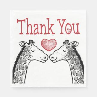 Red Burgundy Thank You Giraffe Love Wedding Paper Napkin