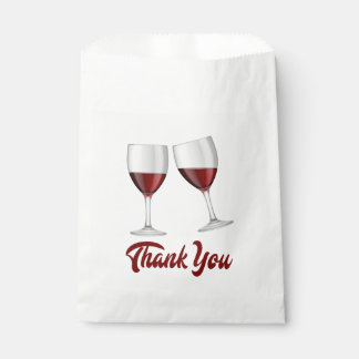 Red Burgundy Thank You Wine Glasses Wedding Favour Bag
