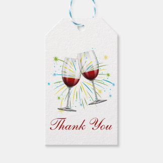 Red Burgundy Thank You Wine Glasses Wedding Winery Gift Tags