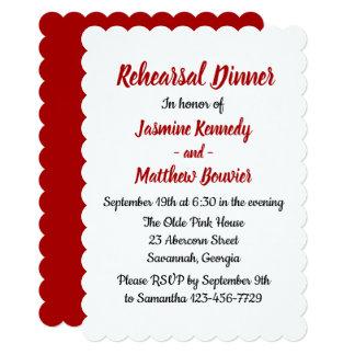 Red Burgundy Wedding Rehearsal Dinner Fall Country Card