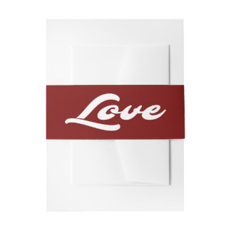 Red Burgundy & White Love Wedding Party Invitation Belly Band