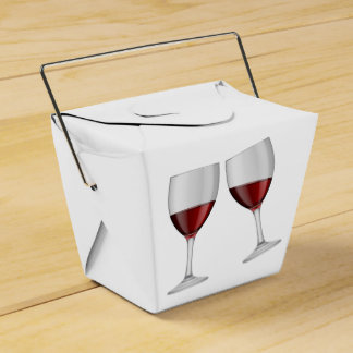 Red Burgundy Wine Glasses Wedding Party Favor Box