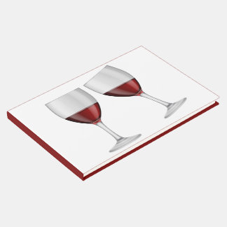 Red Burgundy Wine Glasses Wedding Party  Winery Guest Book
