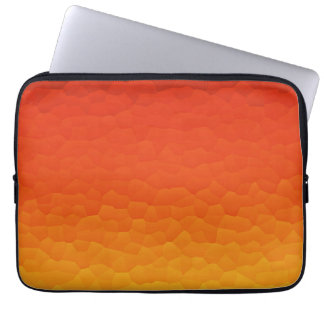 Red Burnt Orange to Gold Ombre Crackle Pattern Laptop Sleeve
