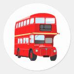 Red Bus Classic Round Sticker