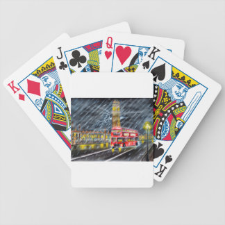 Red Bus in London night rain Bicycle Playing Cards