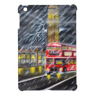 Red Bus in London night rain Cover For The iPad Mini