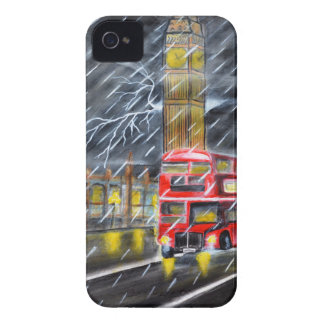 Red Bus in London night rain iPhone 4 Cases