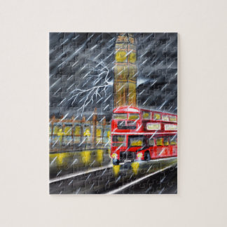Red Bus in London night rain Jigsaw Puzzle