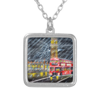 Red Bus in London night rain Silver Plated Necklace