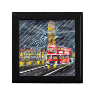 Red Bus in London night rain Trinket Box
