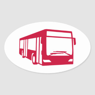 Red bus oval sticker