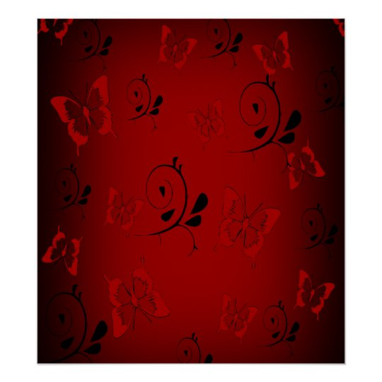 Red Butterfies and Swirls Poster