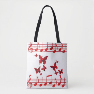 Red Butterflies Music Notes Tote Bag