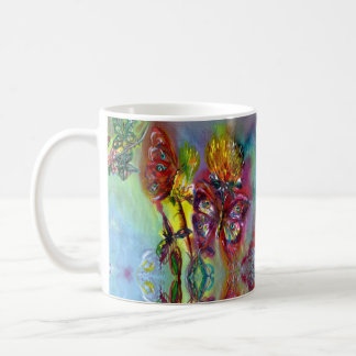 RED BUTTERFLIES ON YELLOW THISTLES,BLUE SKY Floral Coffee Mug