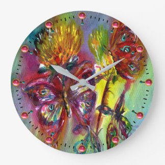 RED BUTTERFLIES ON YELLOW THISTLES,BLUE SKY Floral Large Clock