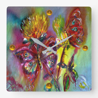 RED BUTTERFLIES ON YELLOW THISTLES,BLUE SKY Floral Square Wall Clock