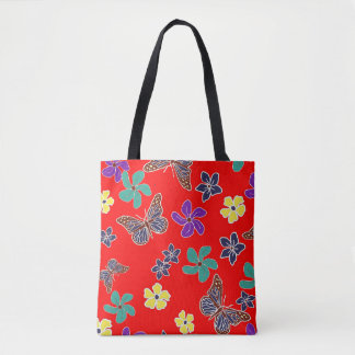 Red butterfly and tropical floral print tote