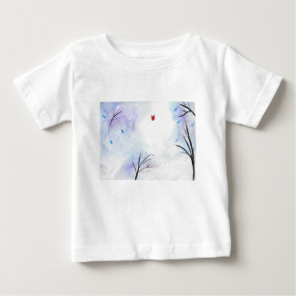 Red Butterfly Blue Forest Baby T-Shirt