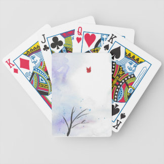 Red Butterfly Blue Forest Bicycle Playing Cards