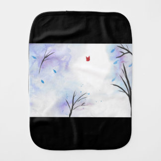 Red Butterfly Blue Forest Burp Cloth