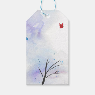 Red Butterfly Blue Forest Gift Tags