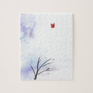 Red Butterfly Blue Forest Jigsaw Puzzle