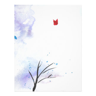 Red Butterfly Blue Forest Letterhead