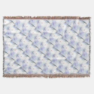 Red Butterfly Blue Forest Throw Blanket