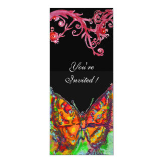 """RED BUTTERFLY , bright yellow black 4"""" X 9.25"""" Invitation Card"""