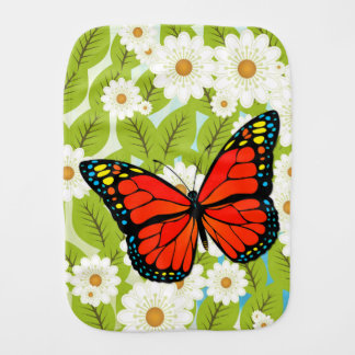 Red butterfly burp cloth